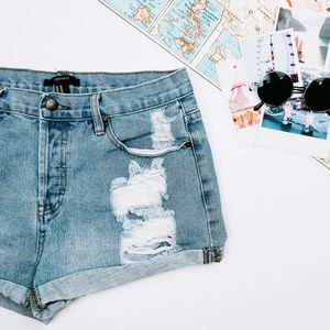 Forever21 Distressed Button Fly Denim Shorts